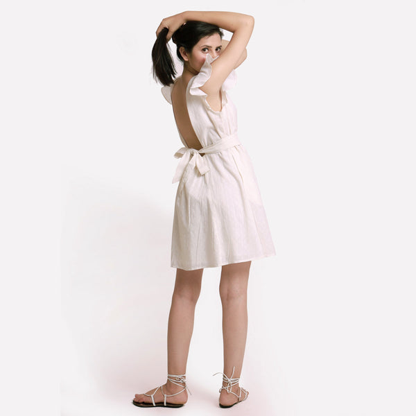 Back View of a Model wearing White Princess Line Backless Short Dress
