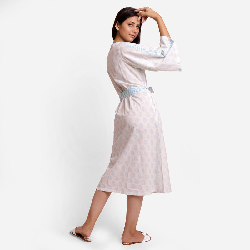 Right View of a Model wearing White Sanganeri Block-Printed Shift Dress