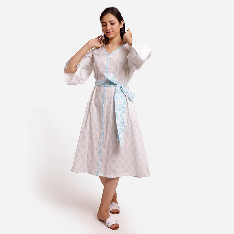Front View of a Model wearing White Sanganeri Block-Printed Shift Dress