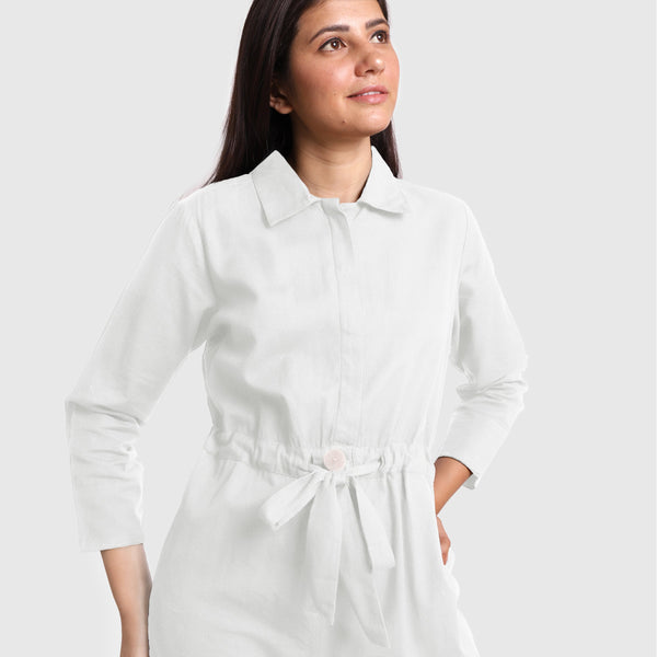 Front Detail of a Model wearing White Wide Legged Cotton Overall