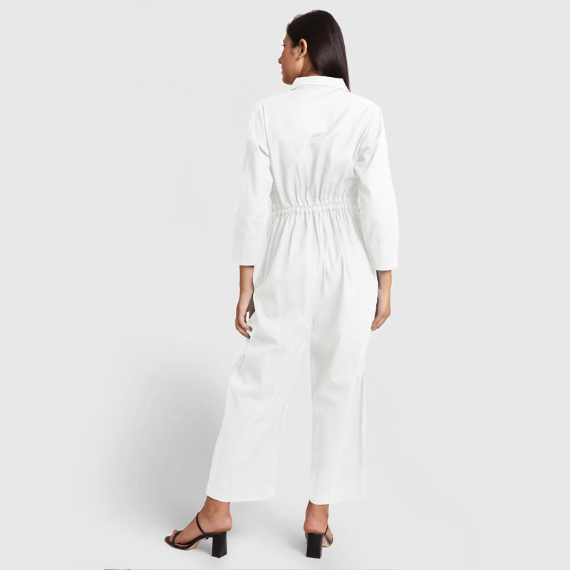 Back View of a Model wearing White Wide Legged Cotton Overall