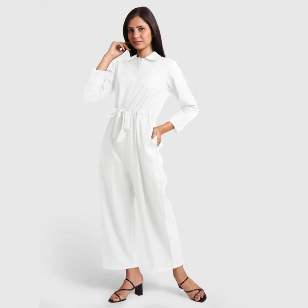 Front View of a Model wearing White Wide Legged Cotton Overall