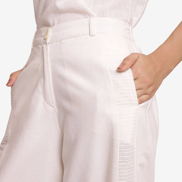 Front Detail of a Model wearing Solid White Wide Legged Straight Pant