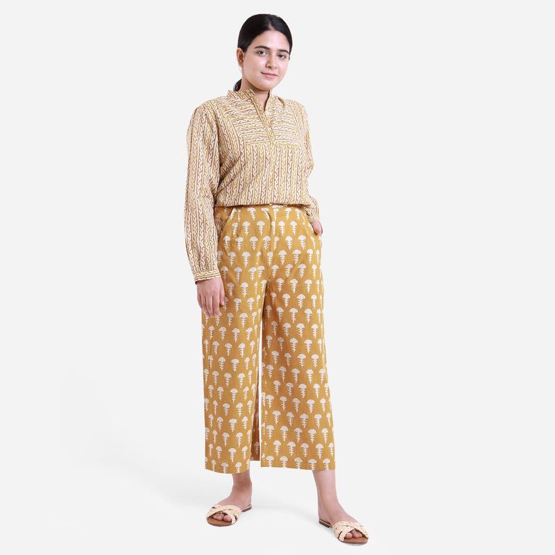 Front View of a Model wearing Bagru Block Print Wide Legged Culotte