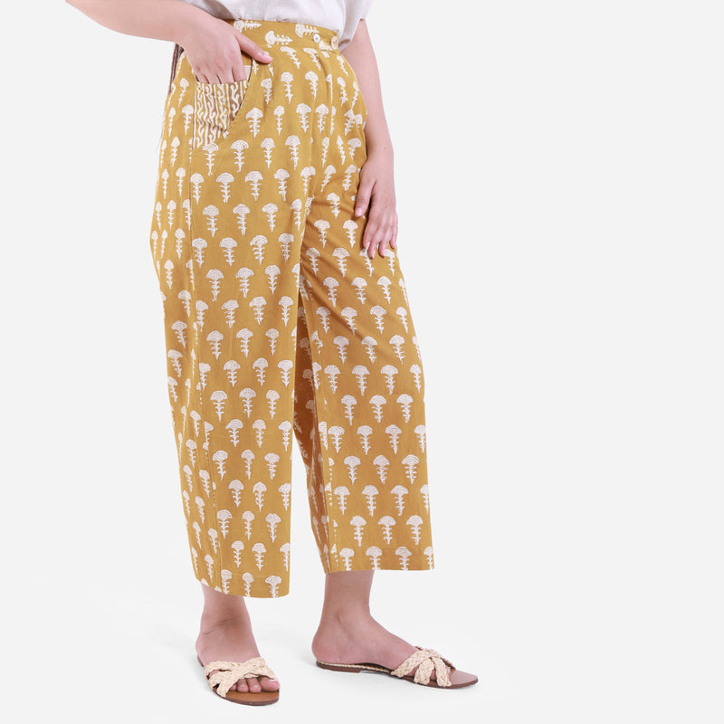 Right View of a Model wearing Bagru Block Print Wide Legged Culotte
