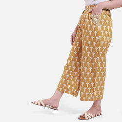 Left View of a Model wearing Bagru Block Print Wide Legged Culotte