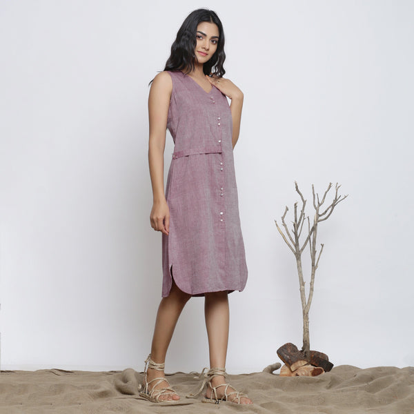 Right View of a Model wearing Wine Cotton Muslin Handspun Shirt Dress