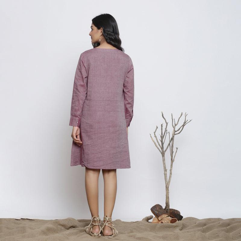 Back View of a Model wearing Wine Handspun Button-Down A-Line Dress