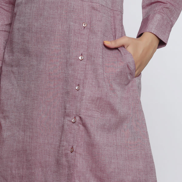 Front  Detail of a Model wearing Wine Handspun Button-Down A-Line Dress