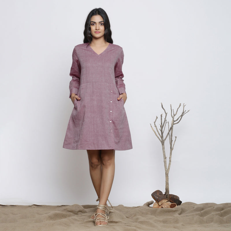 Front View of a Model wearing Wine Handspun Button-Down A-Line Dress