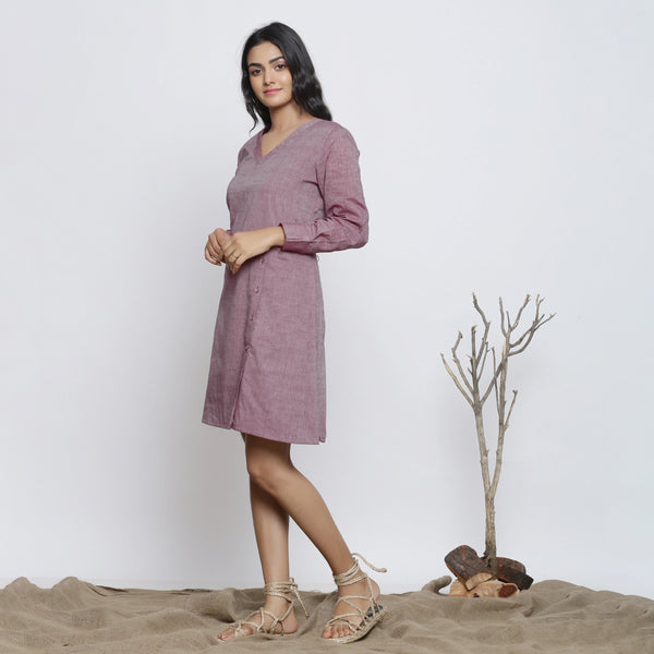 Left View of a Model wearing Wine Handspun Button-Down A-Line Dress