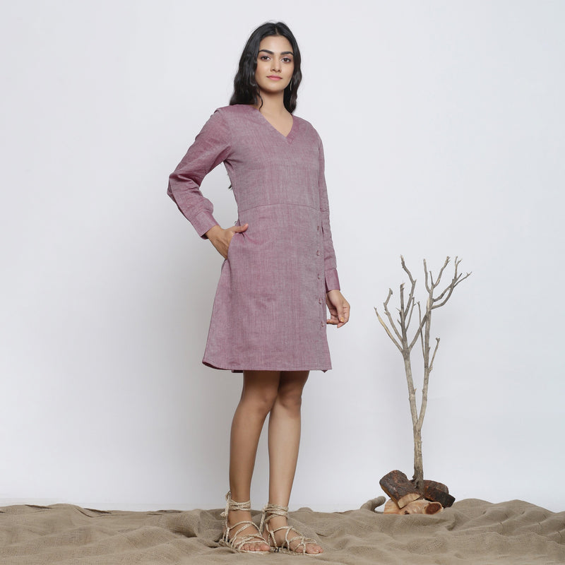 Right View of a Model wearing Wine Handspun Button-Down A-Line Dress