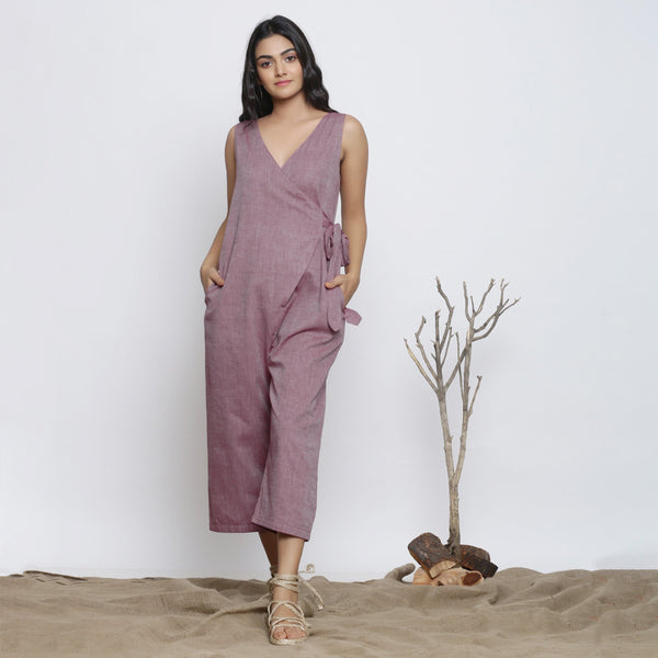 Front View of a Model wearing Wine Handspun Deep Neck Wrap Jumpsuit