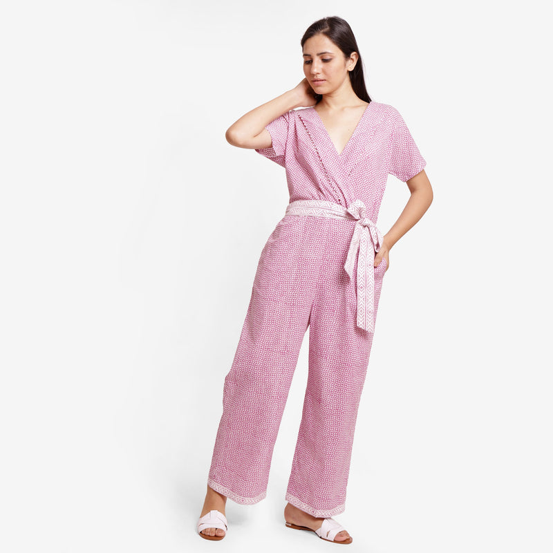 Front View of a Model wearing Wine Hand Block Print Straight Jumpsuit