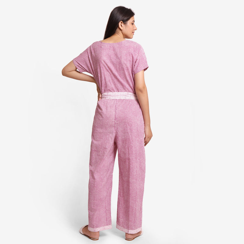 Back View of a Model wearing Wine Hand Block Print Straight Jumpsuit