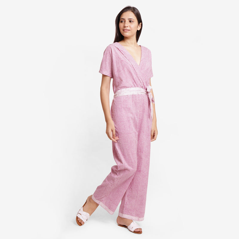 Right View of a Model wearing Wine Hand Block Print Straight Jumpsuit