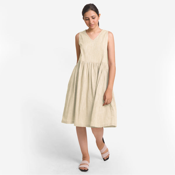 Front View of a Model wearing Yarn Dyed Cotton Beige Yoke Dress