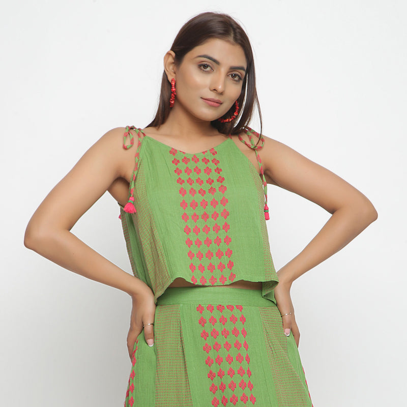 Front View of a Model wearing Yarn Dyed Crinkled Cotton Green Crop Top
