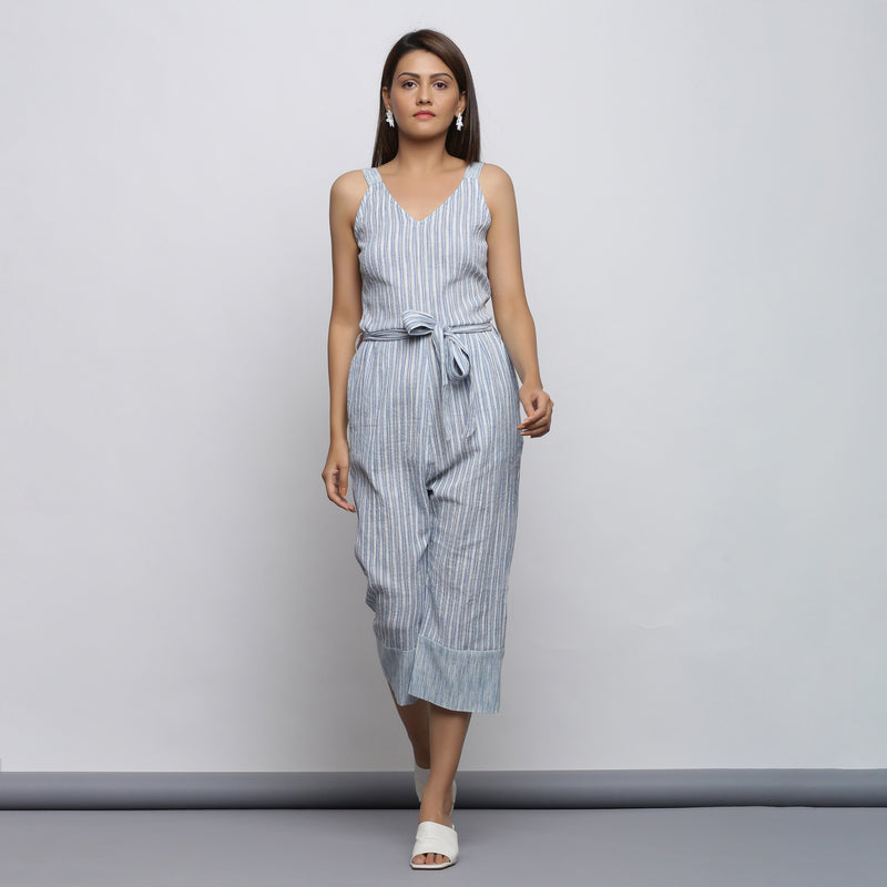 Front View of a Model wearing Crinkled Cotton Straight Fit Jumpsuit