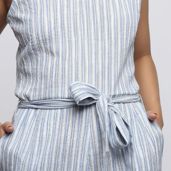 Front Detail of a Model wearing Yarn Dyed Crinkled Cotton Straight Jumpsuit