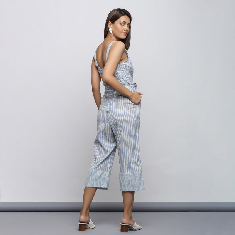 Back View of a Model wearing Crinkled Cotton Straight Fit Jumpsuit