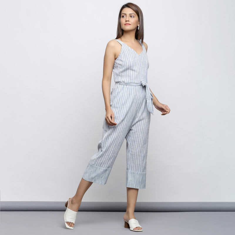 Right View of a Model wearing Crinkled Cotton Straight Fit Jumpsuit