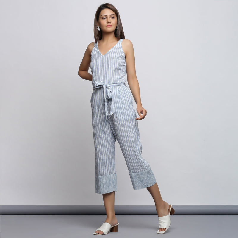 Left View of a Model wearing Crinkled Cotton Straight Fit Jumpsuit