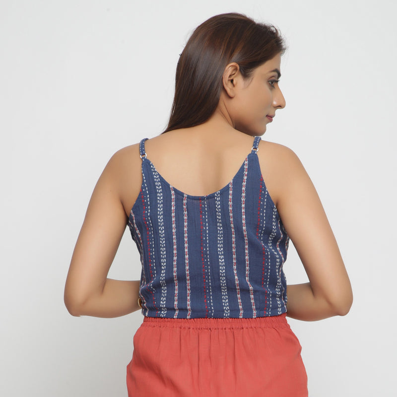 Back View of a Model wearing Yarn Dyed Crinkled Cotton V-Neck Top