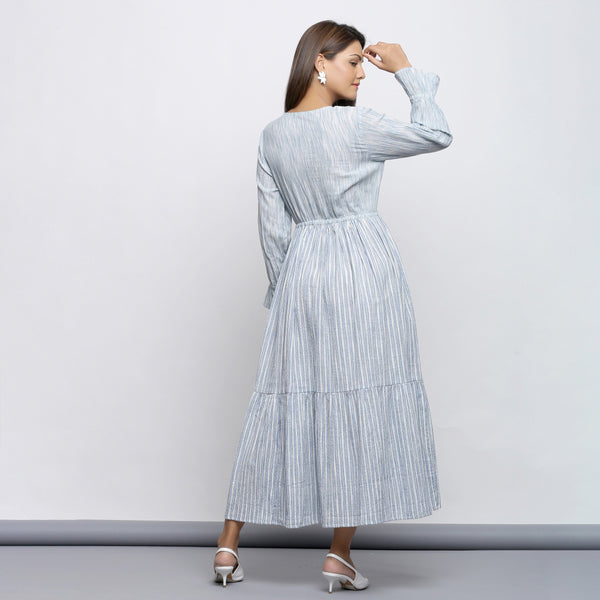 Back View of a Model wearing Yarn Dyed Gathered Button-Down Tier Dress