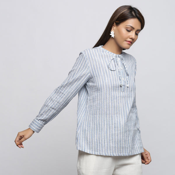 Right View of a Model wearing Yarn Dyed Striped Button-Down Top