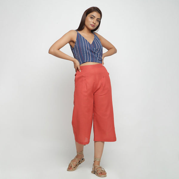 Front View of a Model wearing Yarn Dyed V-Neck Top and High Rise Culottes Set