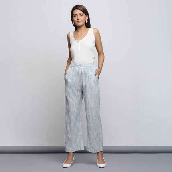Front View of a Model wearing Yarn Dyed Wide Legged Straight Pant