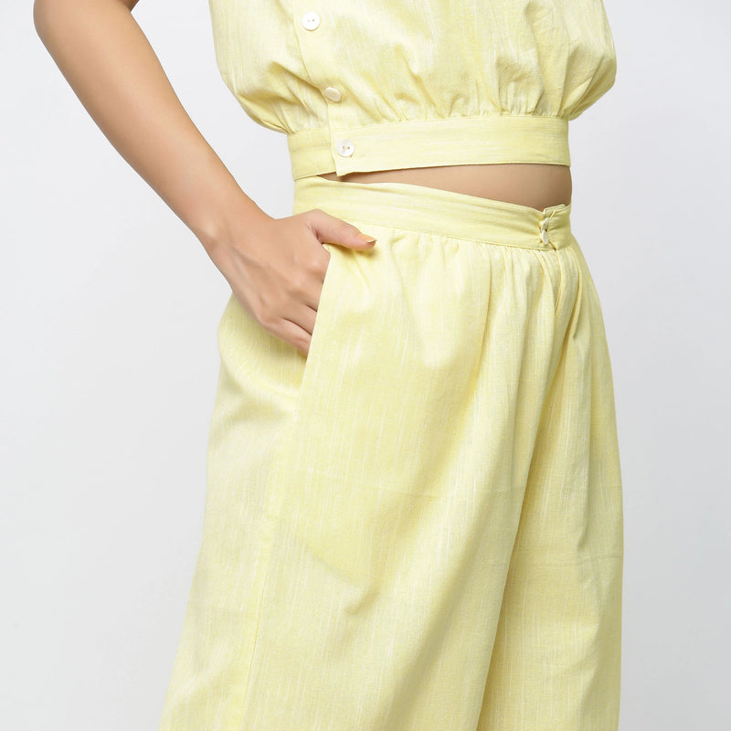 Right Detail of a Model wearing Yellow Yarn Dyed Cotton Flared Culottes