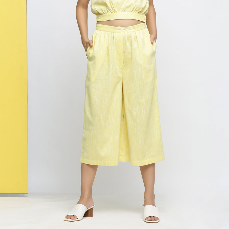 Front View of a Model wearing Yellow Yarn Dyed Cotton Flared Culottes