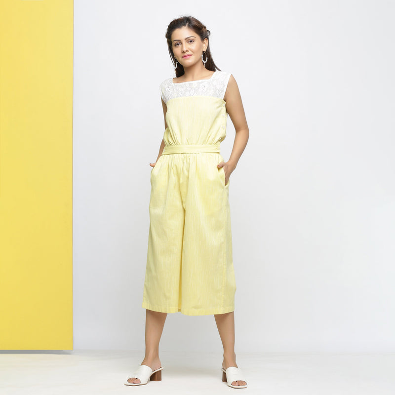 Front View of a Model wearing Yarn-Dyed Yellow Flared Culottes