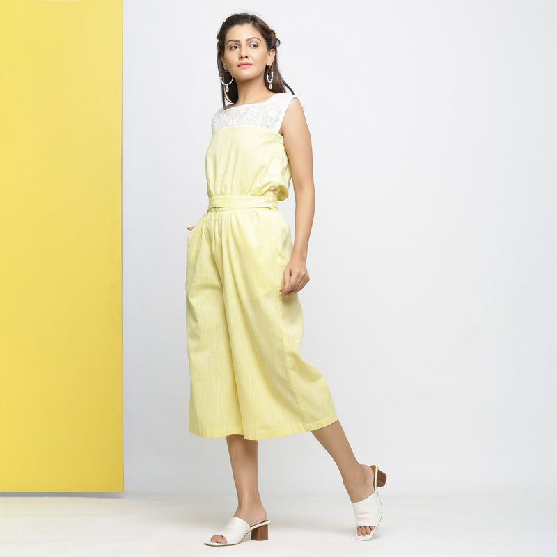 Left View of a Model wearing Yellow Yarn Dyed Cotton Flared Culottes