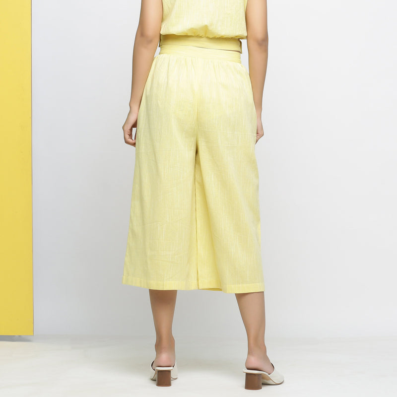 Back View of a Model wearing Yarn-Dyed Yellow Flared Culottes