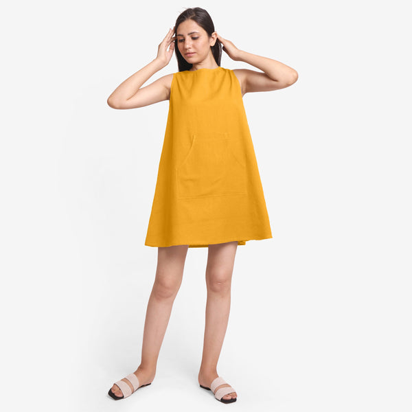 Front View of a Model wearing Yellow Cotton Flax Kangaroo Pocket Dress