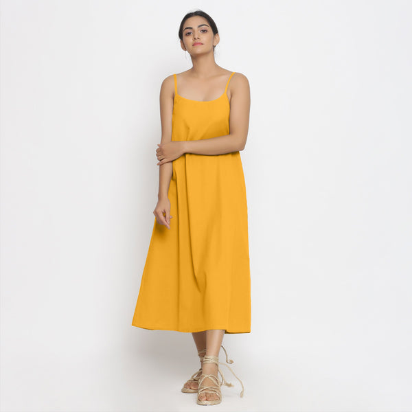 Yellow Cotton Flax Strap Sleeve A-Line Dress