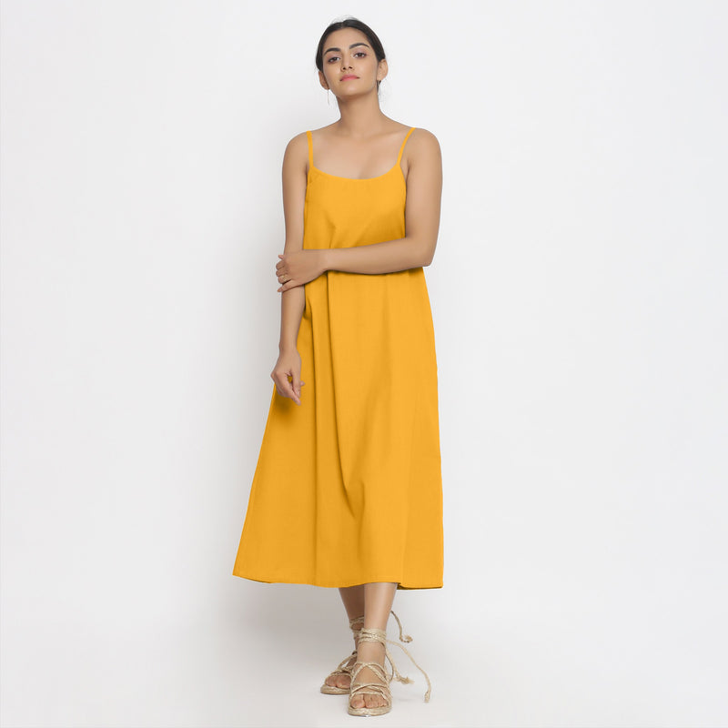 Front View of a Model wearing Yellow Cotton Flax Strap Sleeve A-Line Dress