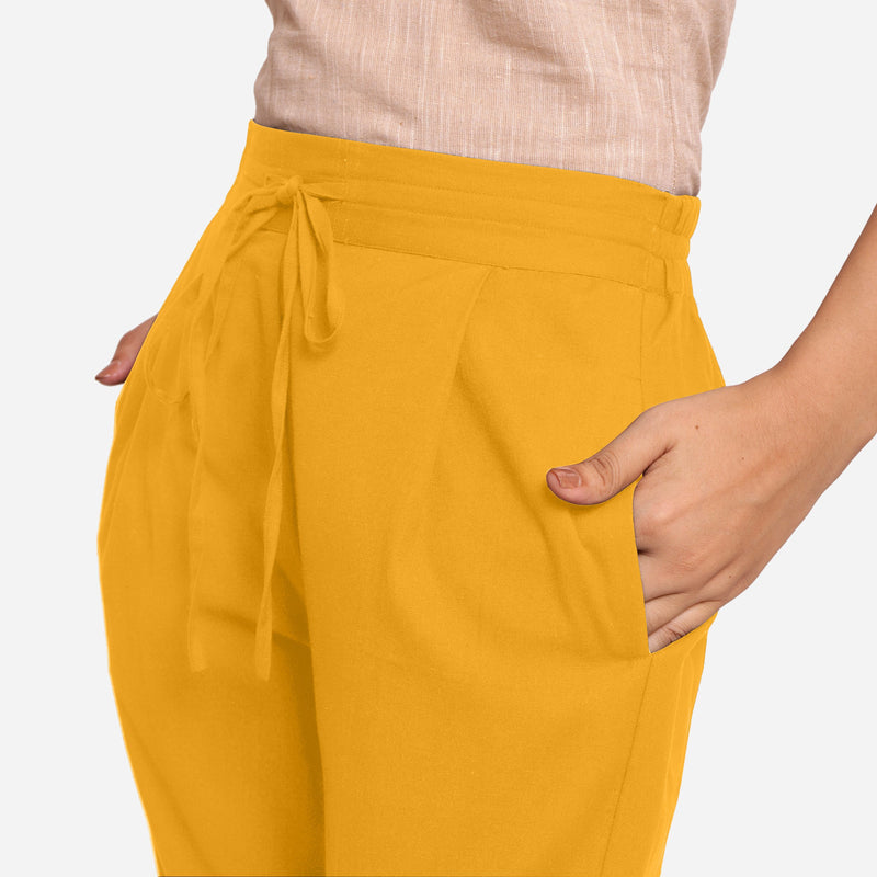 Front Detail of a Model wearing Yellow Cotton Flax Wide Legged Pant