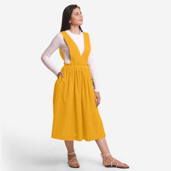 Yellow Deep Neck Pinafore Midi Wrap Dress