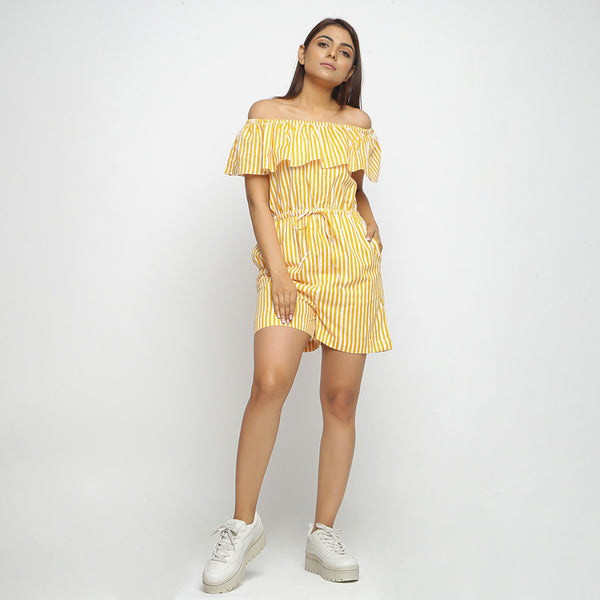 Front View of a Model wearing Yellow Hand-Screen Print Playsuit