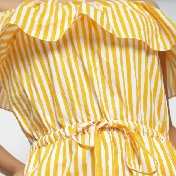 Front Detail of a Model wearing Yellow Hand-Screen Print Playsuit