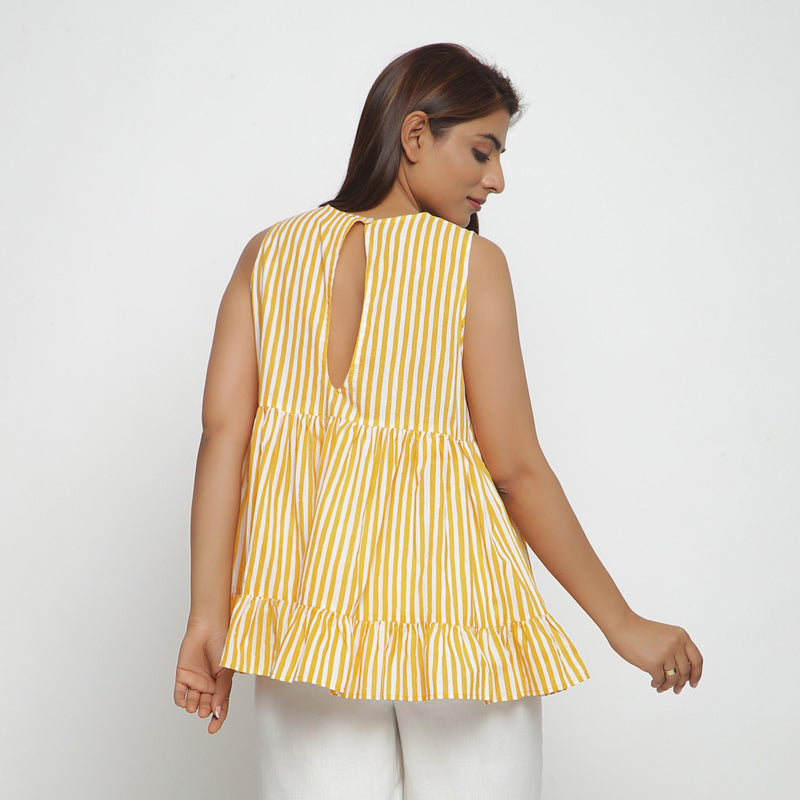 Back View of a Model wearing Yellow Tiered Hand Screen Printed Top