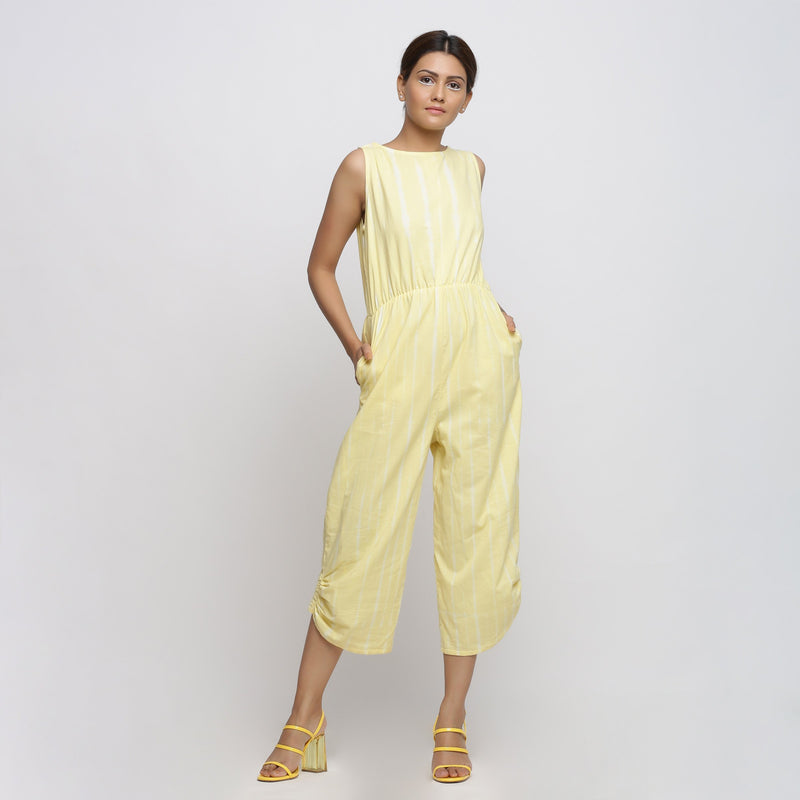 Front View of a Model wearing Yellow Hand Tie-Dyed Straight Jumpsuit
