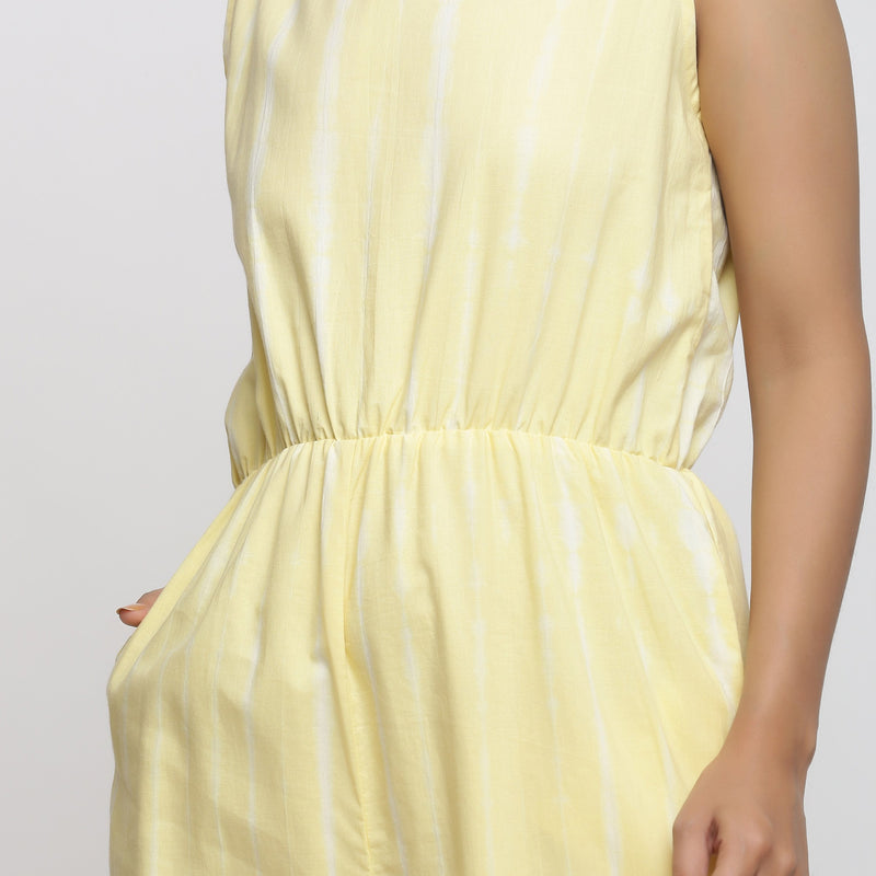 Front Detail of a Model wearing Yellow Hand Tie-Dyed Straight Jumpsuit