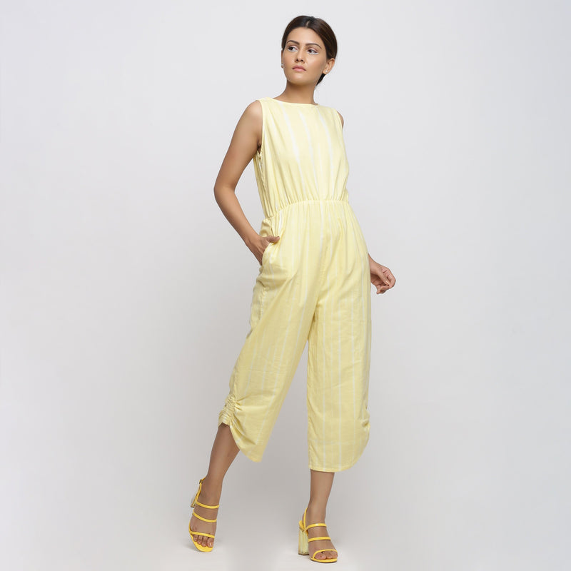 Right View of a Model wearing Yellow Hand Tie-Dyed Straight Jumpsuit