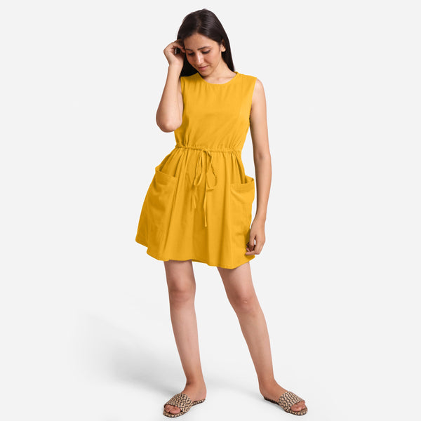 Front View of a Model wearing Yellow Patch Pocket Round Neck Dress