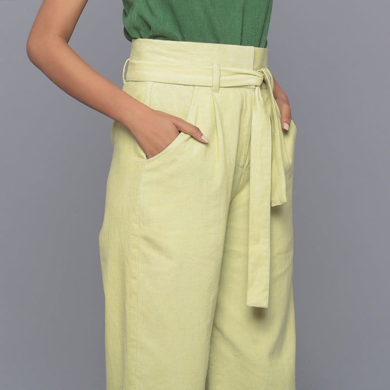 Front Detail of a Model wearing Yellow Pistachio Cotton Corduroy Pant